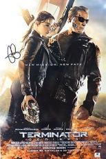 Arnold Schwarzenegger/Emilia Clarke Signed 12X18 Photo Terminator Genisys 809447