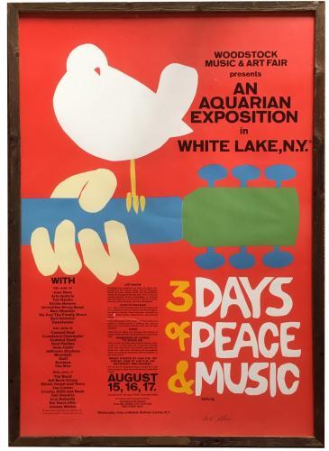 Arnold Skolnick signed ORIGINAL 1969 Woodstock poster framed auto COA LE 2/144