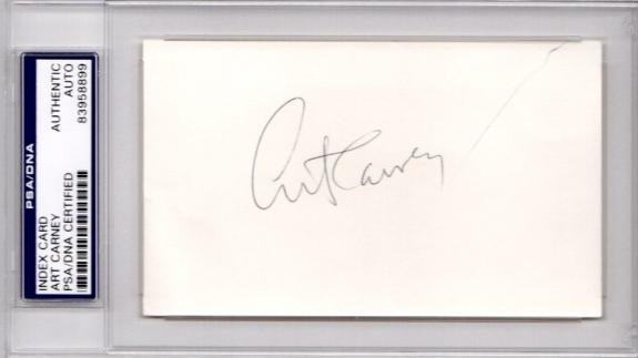 Art Carney Signed - Autographed 3x5 inch Index Card - HONEYMOONERS Actor - PSA/DNA Certificate of Authenticity (COA) - PSA Slabbed Holder