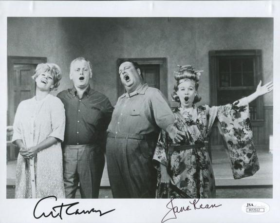 ART CARNEY+JANE KEAN HAND SIGNED 8x10 CAST PHOTO     THE HONEYMOONERS        JSA