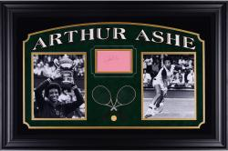 "Arthur Ashe Deluxe Horizontal Framed Collectible with 2.5"" x 3.5"" Autographed Cut"