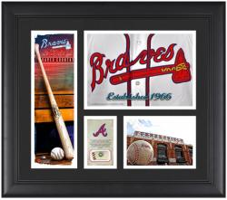 Atlanta Braves Team Logo Framed 15'' x 17'' Collage with Piece of Game-Used Ball - Mounted Memories