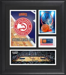 "Atlanta Hawks Team Logo Framed 15"" x 17"" Collage with Team-Used Baseketball"
