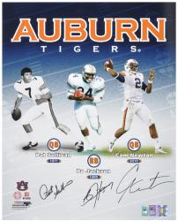 "Pat Sullivan, Bo Jackson and Cam Newton Auburn Tigers Heisman Trophy Winners Multi Signed 16"" x 20"" Photograph - Mounted Memories"