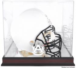 Auburn Tigers Mahogany Base Team Logo Helmet Display Case with Mirrored Back