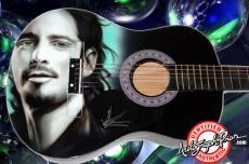 Audioslave Autographed Chris Cornell Airbrush Guitar & Proof PSA AFTAL
