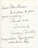 Audrey Christie Actress In The Unsinkable Molly Brown Signed Note Autograph