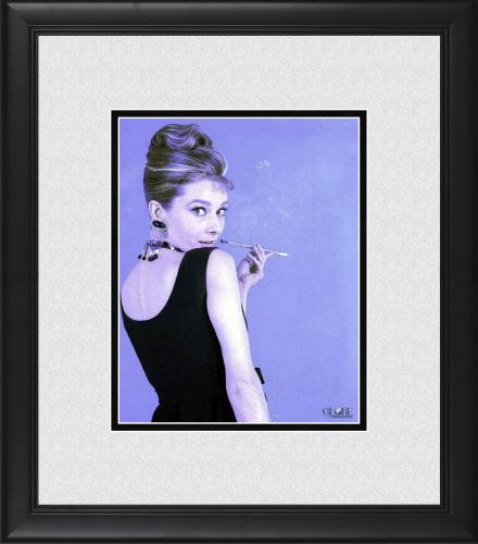"Audrey Hepburn Framed 8"" x 10"" Posing with Cigarette Photograph"