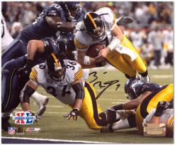 Ben Roethlisberger Pittsburgh Steelers Super Bowl XL Autographed 8'' x 10'' Dive Shot Photograph - Mounted Memories