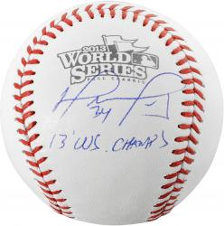 David Ortiz Boston Red Sox 2013 World Series Champions Autographed World Series Logo Baseball with 2013 WS Champs Inscription - Mounted Memories