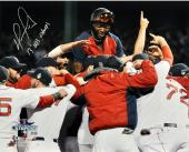 David Ortiz Boston Red Sox 2013 World Series Champions Autographed 16'' x 20'' Team Celebration Photograph with 2013 WS Champs Inscription - Mounted Memories