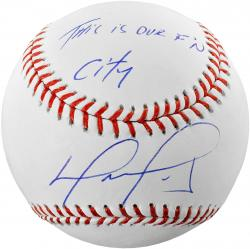 David Ortiz Boston Red Sox 2013 World Series Champions Autographed Baseball with This Is Our F'N City Inscription - Mounted Memories