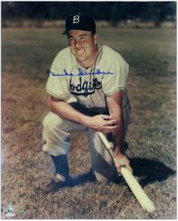 Duke Snider Los Angeles Dodgers Autographed 16'' x 20'' Kneeling on Bat Photograph - Mounted Memories