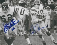 Autographed ED WHITE & ED MARINARO BXW 8X10 Minnesota Vikings Photo