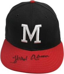 Hank Aaron Milwaukee Braves Autographed Hat - Navy Blue - Mounted Memories