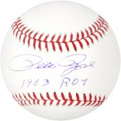 Pete Rose Autographed Baseball with 1963 ROY Inscription - Mounted Memories