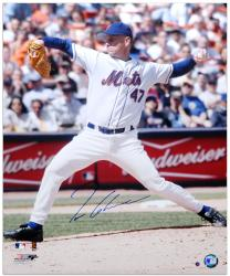 Tom Glavine New York Mets Autographed 16'' x 20'' Vertical Pitching Photograph - Mounted Memories