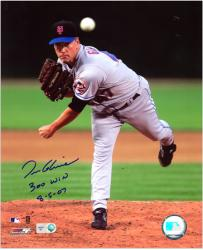"Tom Glavine New York Mets 300th Win Autographed 8"" x 10"" Vertical Photograph with 300 Win 8-5-07 Inscription"