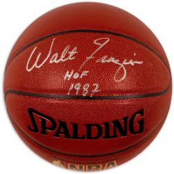 Walt Frazier New York Knicks Autographed Indoor/Outdoor Basketball with ''HOF 1987'' Inscription - Mounted Memories
