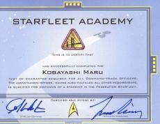 Autographed William Shatner Leonard Nimoy Kobayashi Maru 9x12 Diploma Psa Letter