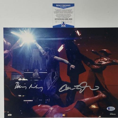 Autographed/Signed DAISY RIDLEY & ADAM DRIVER Star Wars 11x14 Photo Beckett COA
