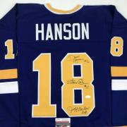 Autographed/Signed HANSON BROTHERS Slap Shot Movie Blue Hockey Jersey JSA COA