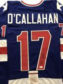 Autographed/Signed JACK O'CALLAHAN Blue Team USA Miracle 1980 Jersey JSA COA