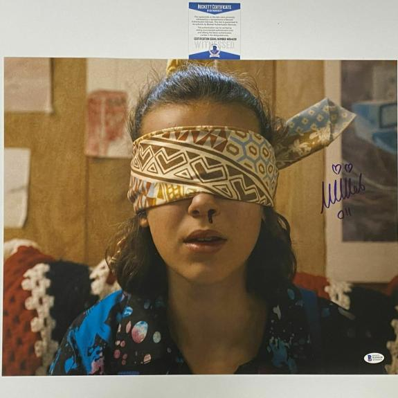Autographed/Signed MILLIE BOBBY BROWN Stranger Things 16x20 Photo Beckett COA