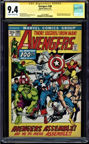 Avengers #100 Cgc 9.4 Oww Ss Stan Lee Signed Cgc #0351038005