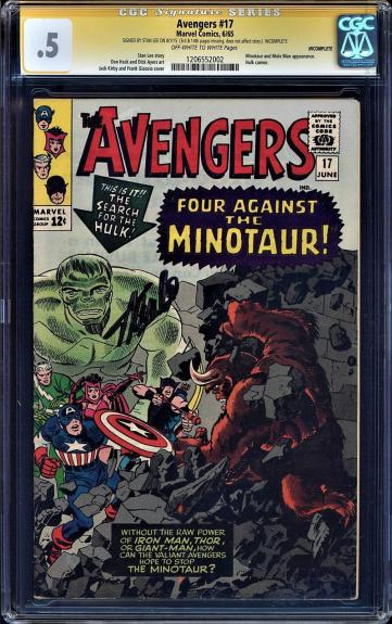 AVENGERS #17 CGC .5 OWW PAGES STAN LEE SIGNED HULK CAMEO  #1206552002 Incomplete