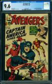 Avengers #4 Cgc 9.6 1st Silver Age App Of Captain America Key Issue #1493762002