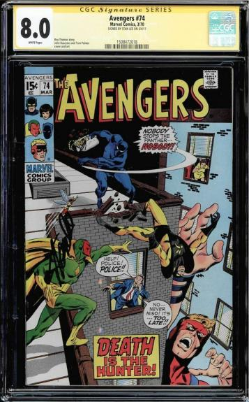 Avengers #74 Cgc 8.0 White Pages Ss Stan Lee Signed Cgc #1508472018