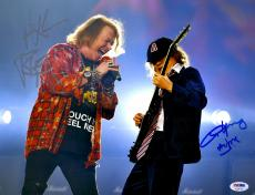 """Axl Rose And Angus Young Autographed 11"""" x 14"""" AC DC And Guns N' Roses Photograph - PSA/DNA LOA"""