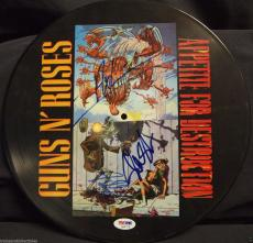 Axl Rose Slash Steven Adler Guns N Roses Gnr Signed Appetite Record Psa/dna