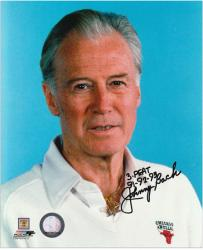 """Johnny Bach Chicago Bulls Autographed 8"""" x 10"""" Photograph with 3 Peat 91, 92, 93 Inscription"""