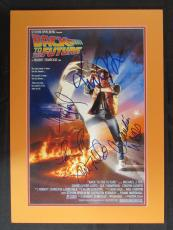 Back To the Future Cast Signed 12x18 Photo Michael J Fox Huey Lewis +3 JSA Z4...