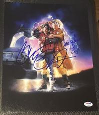 Back To The Future Michael J Fox Christopher Lloyd Signed Photo Psa/dna V04893 A