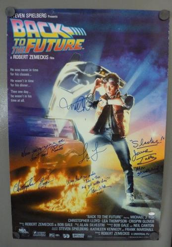 Back To The Future Signed 24x36 Movie Poster JSA Certified Michael J Fox +4