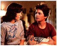 "BACK to the FUTURE"" Signed by MICHAEL J. FOX as MARTY MCFLY and LEA THOMPSON as LORAINE BAINES 10x8 Color Photo"