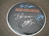 "Bad Religion Greg Brooks Jay Brian Autographed Signed 12"" DRUMHEAD PSA Guarantee"