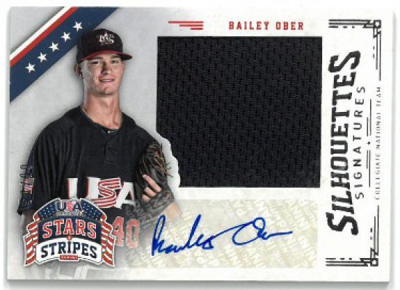 Bailey Ober signed 2015 Panini USA Baseball Stars & Stripes Silhouettes Game Used Card #11- LTD 58/99
