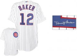 Dusty Baker Chicago Cubs Autographed Authentic White Pinstripe Jersey - Mounted Memories