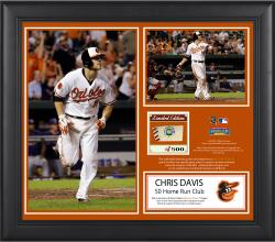 "Baltimore Orioles Chris Davis 50th Home Run Framed 15"" x 17"" 2-Photo Collage with Game-Used Ball - Limited Edition of 500 - Mounted Memories"