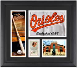Baltimore Orioles Team Logo Framed 15'' x 17'' Collage with Piece of Game-Used Ball - Mounted Memories