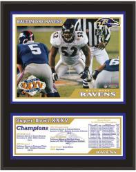 """Baltimore Ravens Super Bowl XXXV 12"""" x 15"""" Sublimated Plaque"""