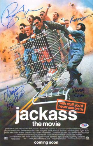 Bam Margera Chris Pontius +2 Cast Signed 11x17 Jackass Movie Poster PSA/DNA COA