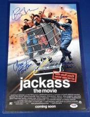 Bam Margera Preston Lacy Plus 2 signed 11x17 Jackass Movie Poster PSADNA Y05398