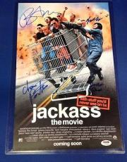 Bam Margera Preston Lacy Plus 2 signed 11x17 Jackass Movie Poster PSADNA Y05399