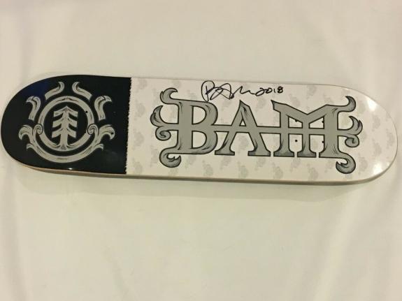 Bam Margera Signed Element 8.0 White Skateboard Deck Board Jackass Proof