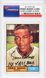 Ernie Banks Chicago Cubs Autographed 1961 Topps #350 Card with 14 X All-Star Inscription  - - Mounted Memories